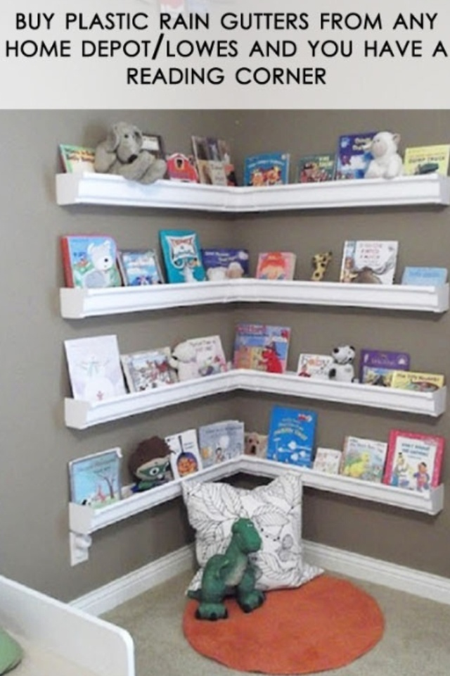 I really like this reading corner for kids or to just hold books