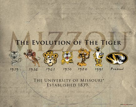 University Of Missouri Evolution Of The Tiger Historic