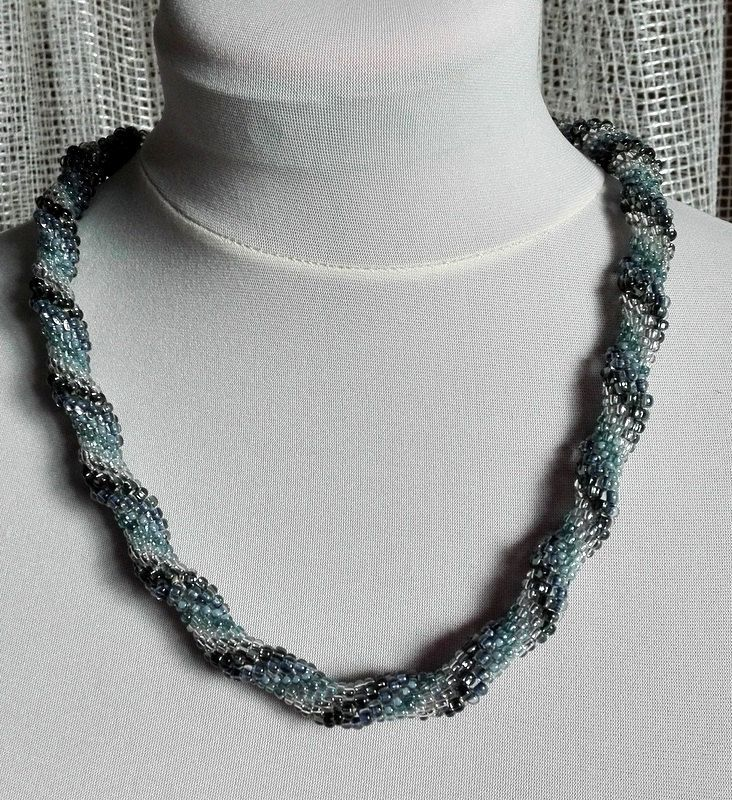 Six Shades of Gray, Gray, Silver, Beaded Rope, Peyote, Biser, Neckle, Jewelry, Elegant by IMAGINARIUM2015 on Etsy