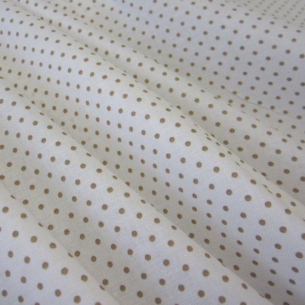 Stoff Punkte - Meterware Baumwolle Punkte (2 mm) weiß beige - ein Designerstück von werthers-stoffe bei DaWanda