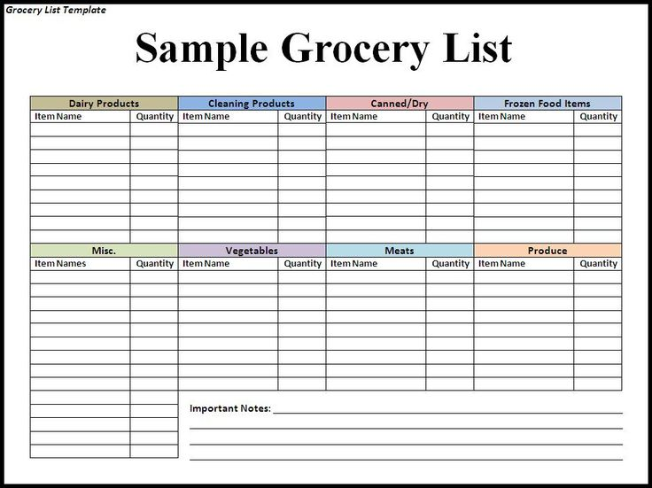 supermarket shopping list template
