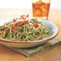 Pasta with Walnut-Basil Pesto - #Healthy Recipe