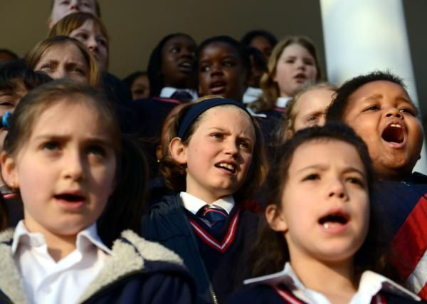 Happy Birthday Tata! Pupils of Parkview Junior School sing happy birthday to Nelson Mandela in Parkview, Johannesburg on his 95th birthday. | Photo: Chris Collingridge/Post