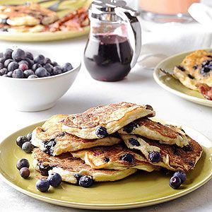 Top these tender blueberry pancakes with blueberry syrup to serve for weekend breakfast or brunch.