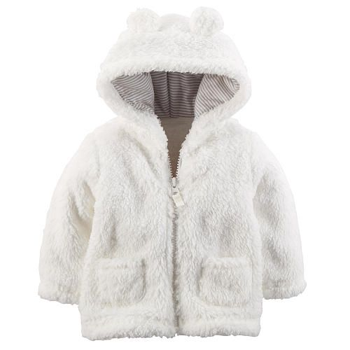 """Carter's Neutral Ivory Sherpa Jacket with 3D Hood Detail - Carters  - Babies""""R""""Us"""