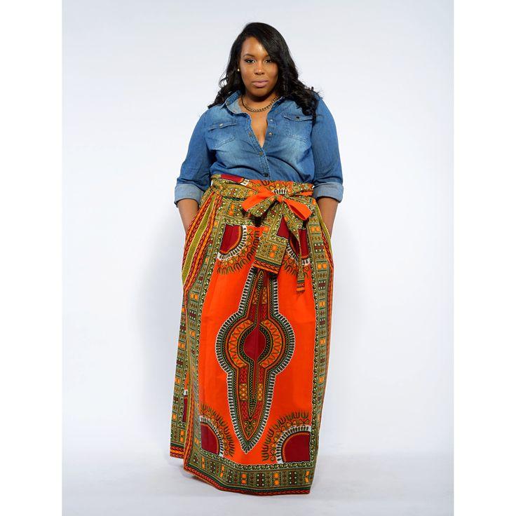 Dashiki African Print Maxi Skirt (Orange)