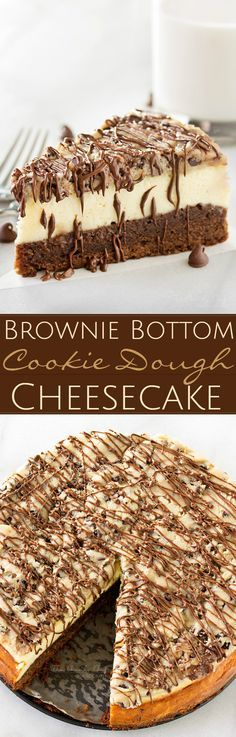 Brownie-Bottom-Cookie-Dough-Cheesecake | This impressive, yet super easy, brownie bottom cookie dough cheesecake looks as fancy as any dessert you've had from a restaurant! The ULTIMATE cheesecake for the ULTIMATE dessert lover! | http://thechunkychef.stfi.re