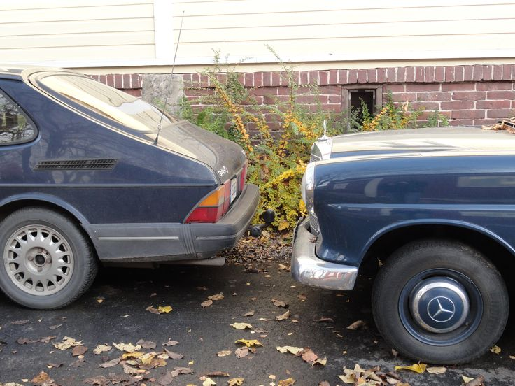 Late 1980s Saab and early 1960s Mercedes. Lonttinen, Turku, autumn 2011.