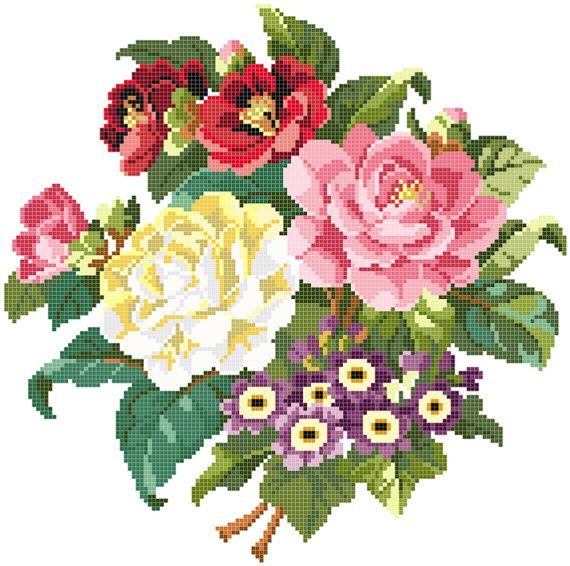 Special offer  Floral collection 5 x cross stitch by rolanddesigns