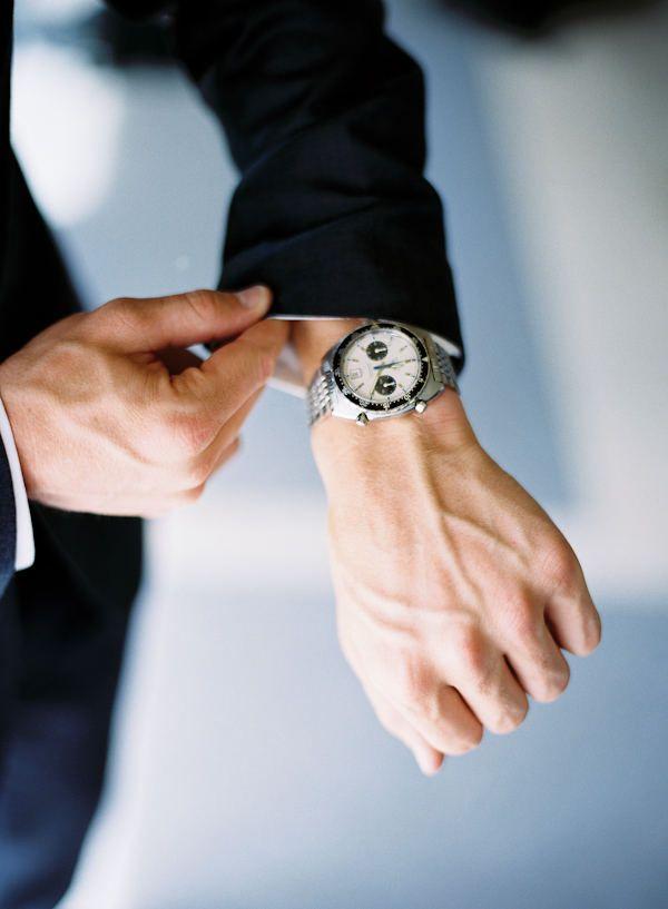 style me pretty - real wedding - oregon - salem wedding - private residence - groom - getting ready - watch
