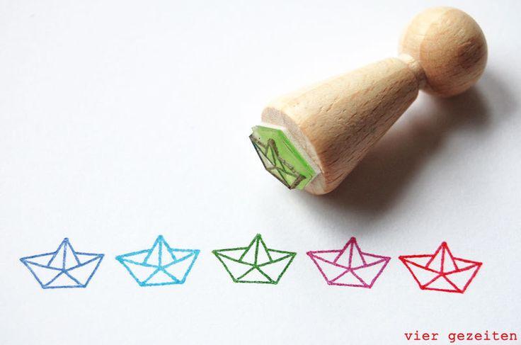 "Mini Stempel ""Papierschiff"" // mini stamp papership by  vier gezeiten via DaWanda.com // 1,95€"