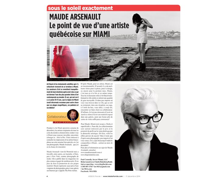 Inspiring read about Maude Arsenault, our curator - Hebdo Floride /// Get weekly inspiration and exclusive art offers : eepurl.com/KFtxf // Limited edition prints at The Print Atelier, The Next Generation Art Gallery /// Become the curator of your own space with fine art prints from your favorite contemporary artist photographer /// follow @The Print Atelier