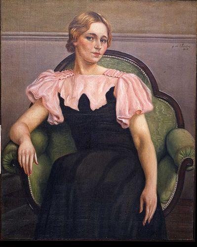 Giorgio DE CHIRICO Ritratto di Isa, vestito rosa e nero    #TuscanyAgriturismoGiratola