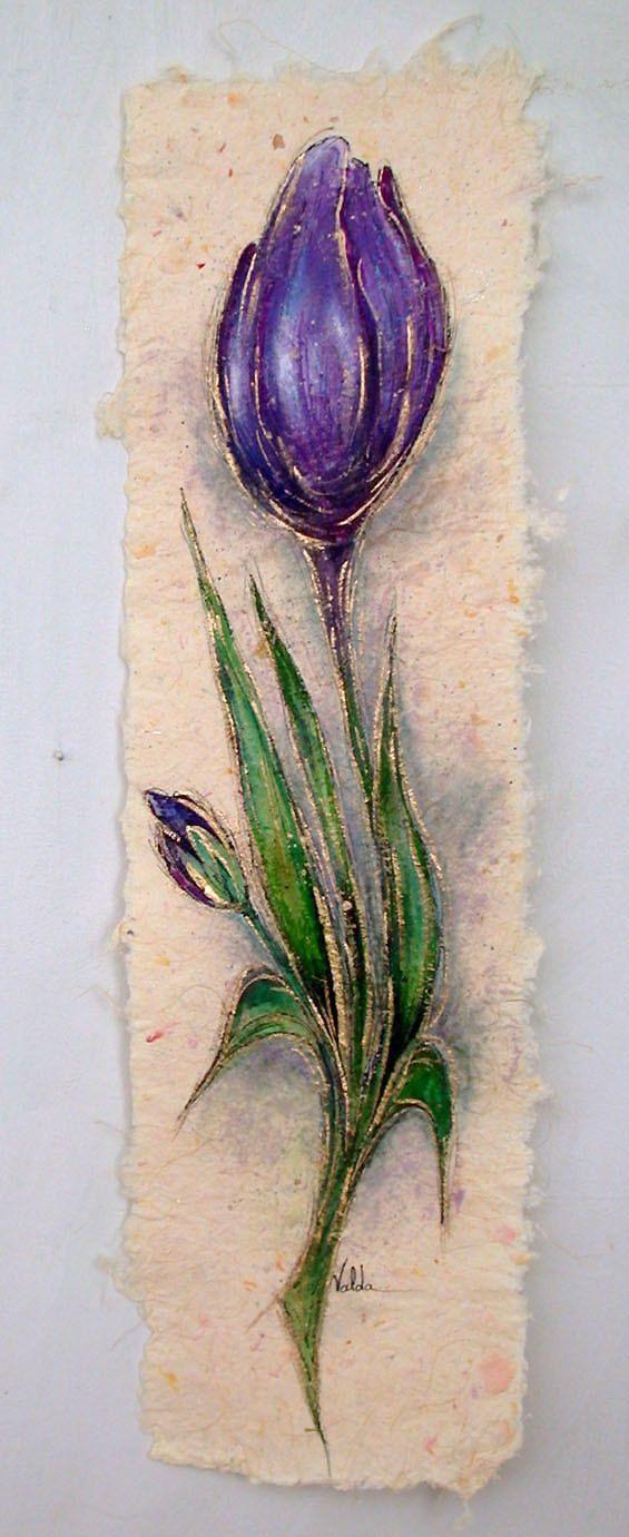 Purple Tulip   305 6x22 Painting on handmade by valdasfineart