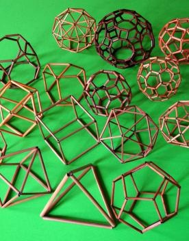Bamboo kits for polyhedra models allow viewing from all sides - the five simplest shapes are $36