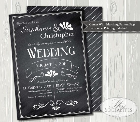 Vintage Chalkboard Wedding Invitation  Chalkboard by ShySocialites, $15.00