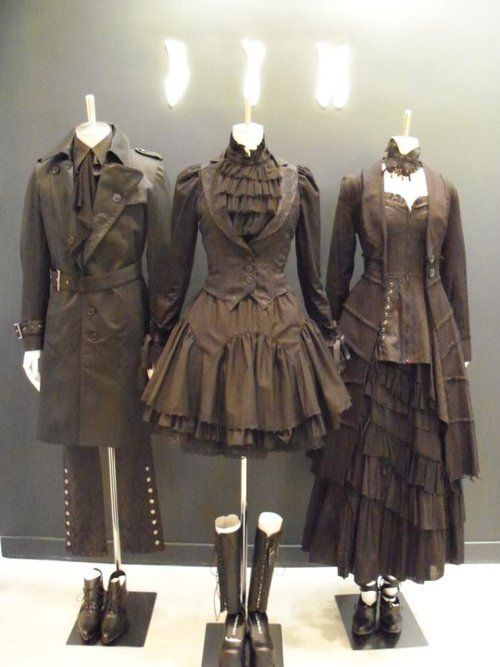 Middle outfit is a great loliable steampunk style, skirt would need to be longer though