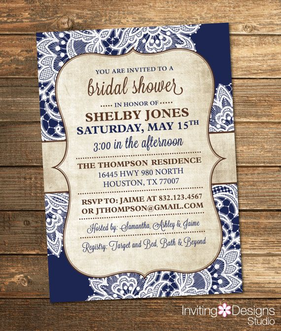 Bridal Shower Invitation, Burlap, Lace, Navy Blue, Navy, Brown, Rustic, Chic, Vintage (PRINTABLE FILE)