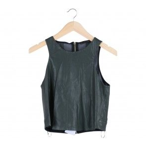 Green Sleeveless Leather Blouse