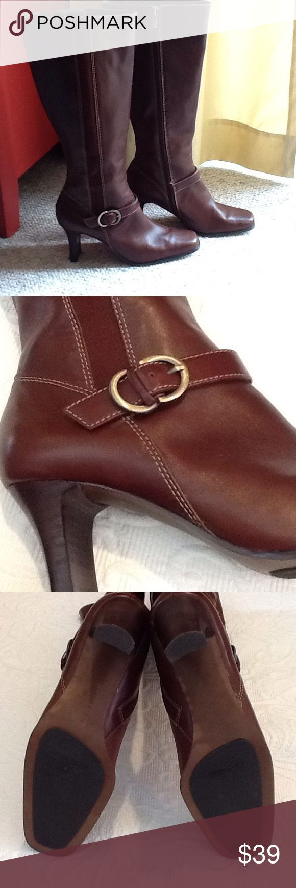 Gorgeous Anne Klein boots Leather upper, man made sole. Good used condition. Size 6M. Anne Klein Shoes Heeled Boots