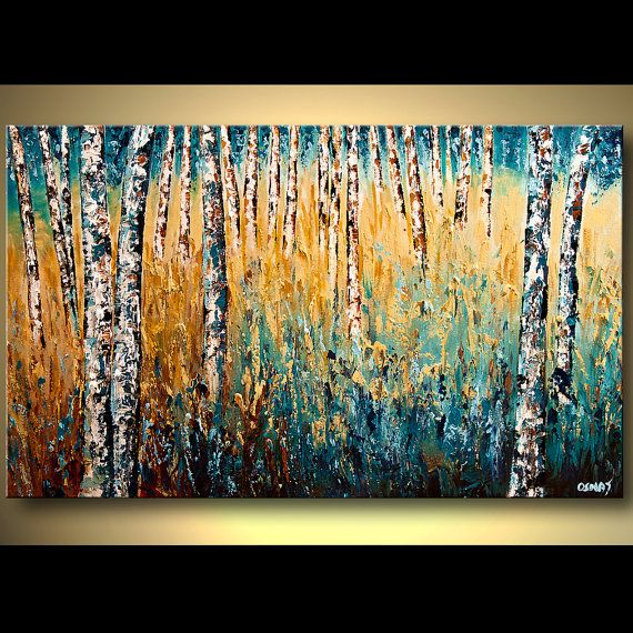 ORIGINAL Landscape Painting Birch Trees Painting  Palette Knife Thick Texture Painting from Osnat Tzadok