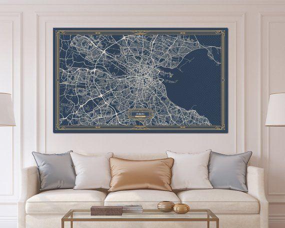 Dublin Ireland Canvas Map Print Art Deco Extra Large Map Etsy Horizontal Wall Art Oversized Wall Art Wall Art Canvas Prints