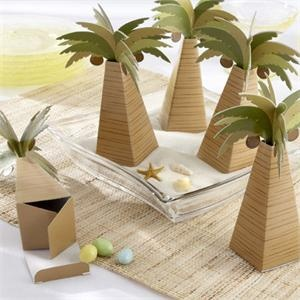 Luau Birthday parties are fun - these palm tree favors boxes are a great fit to the theme.