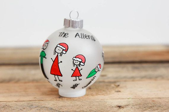 Personalized Family Christmas Ornament (Up to 10 Family members) - Santa Hats on Etsy, $12.00