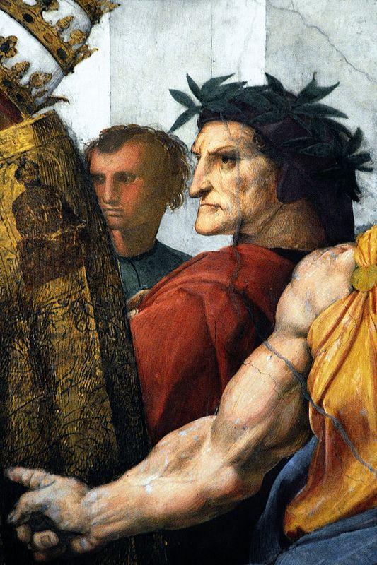Musei Vaticani - Raffaello - Dante Alighieri [RAPHAEL, Italian High Renaissance (1483-1520)_Disputation of the Holy Sacrament 1509–1510]