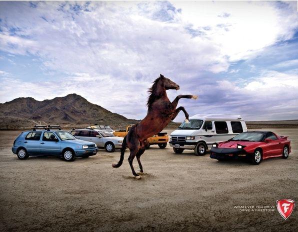 """Publicité de la marque Firestone, qui montre l'originalité et le savoir-faire de la marque. """"Qu'importe ce que vous conduisez, conduisez du Firestone"""". #firestone #pneus #publicité"""