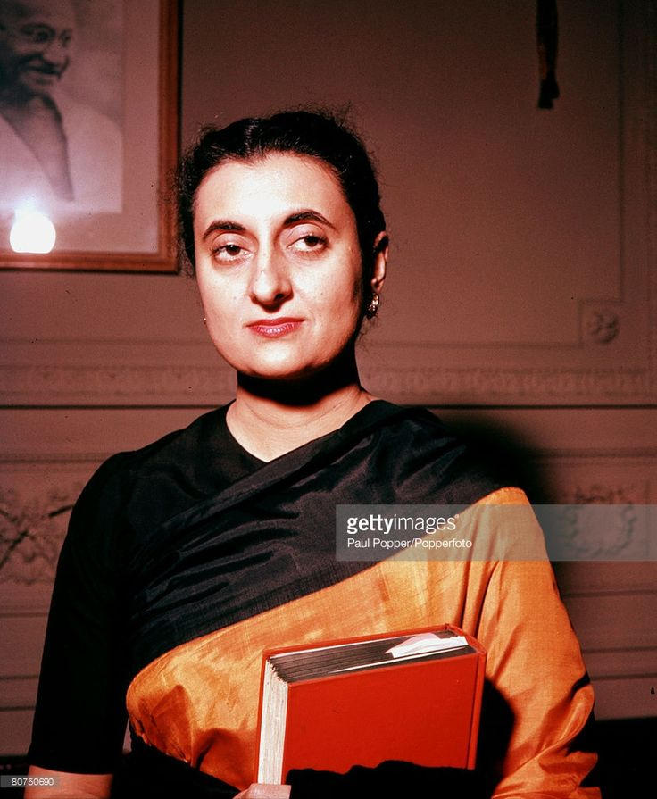 India, Circa 1950's, A portrait of Indira Gandhi, the daughter of Indian Premier Jawaharlal Nehru, and Prime Minister of India 1966-77 and 1980-84