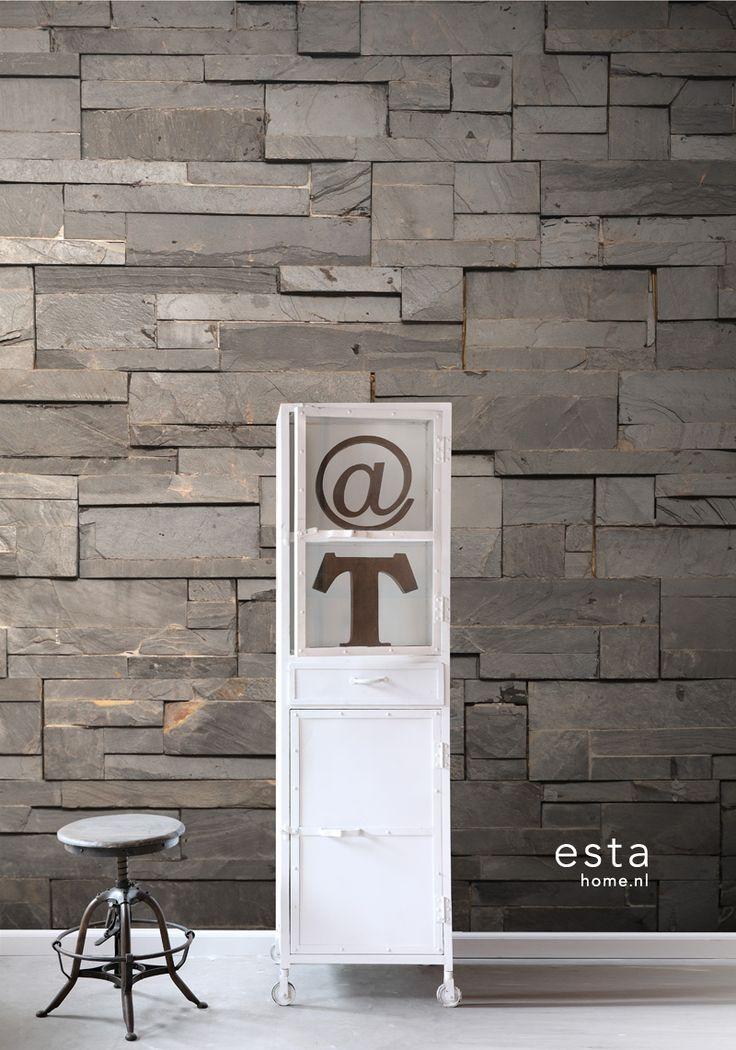ESTAhome.nl - maak je huis gezellig! photowallXL end grain composition dark grey behang, fotobehang, gordijnstof en dekbedovertrekken