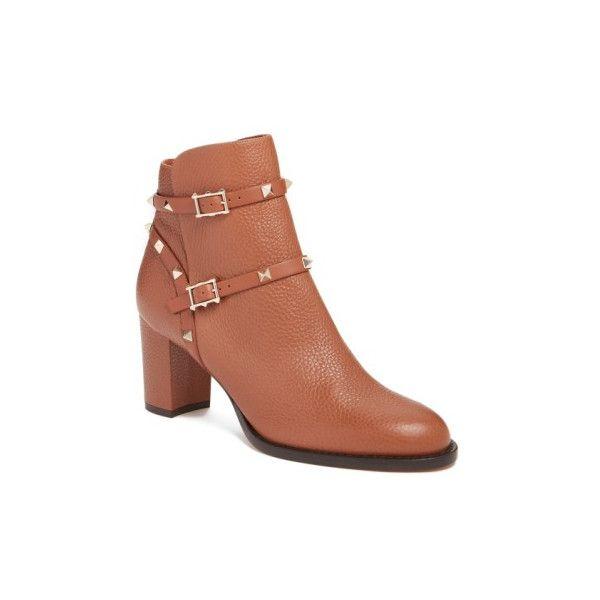 e9137dd682e4f Shop Valentino Garavani  rockstud  Block Heel Bootie in Tan Leather at...  ( 1