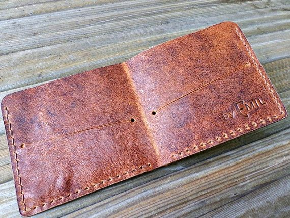 Goat Leather Bifold Wallet hand stitched LIMITED by ArtNotebooks, $39.00