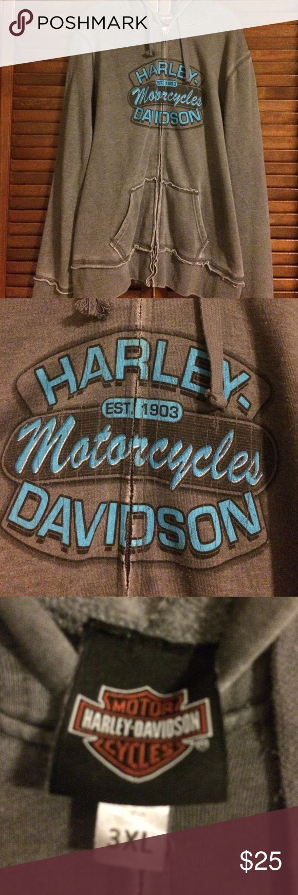 Harley Davidson Jacket Worn a couple times. There is some fraying on the end of one string. Harley-Davidson Jackets & Coats