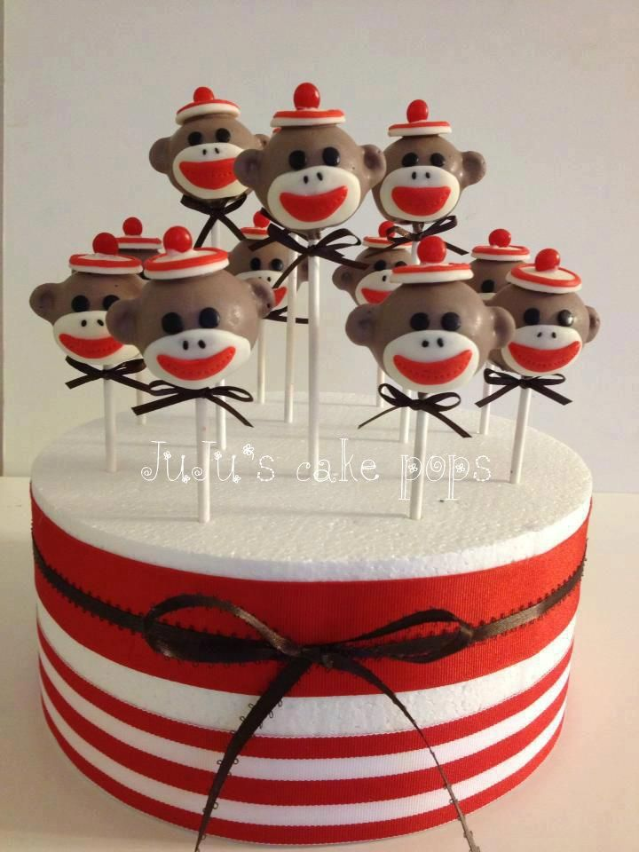 Sock Monkey Cake Pops in Styrofoam stand