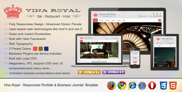Vina Royal is one of a kind Magnificent Joomla! Template, where the beauty of the template is as great as its layout. Enriched with carefully thought and picked content and menu positions that are fully customizable to any well established or a startup business. With its responsive Liquid layout the template will look as great whether viewed on a high or low screen resolution. More details here…