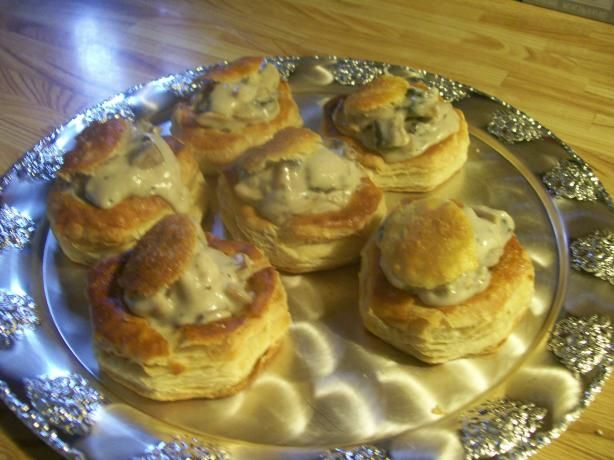 Mushroom Vol Au Vent from Food.com:   								Creamy Mushrooms in vol au vent shells - perfect as a starter or as a side dish.  Taken from Popular French Cooking by Mary Berry 1972 edition.