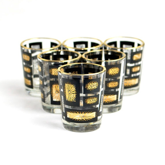 #Vintage #Retro #MidCentury Modern Black & Gold Shot #Glasses SET OF 6 - #Madmen Style #Drinks #Liquor #Serving for Party or Home #Bar #Decor by OneRustyNail on #Etsy