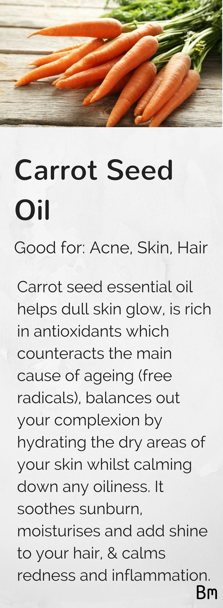 Carrot seed oil helps dull skin glow, prevents ageing, balances out your complexion, soothes sunburn and adds shine to your hair. Just add a few drops to your shampoo or conditioner and to your favourite body lotion! Learn more about carrot seed and other essential oils by clicking on the pin.