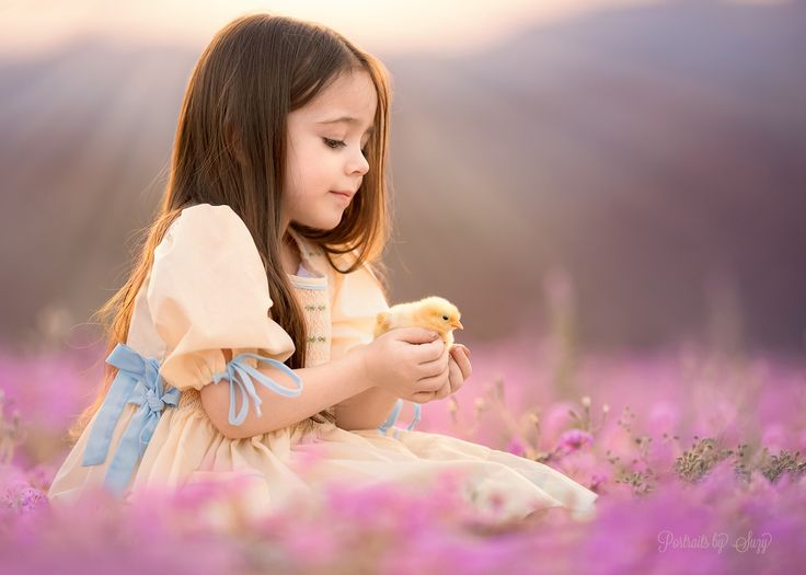 Soft sweet mia in wildflowers with a baby chick thank you for liking