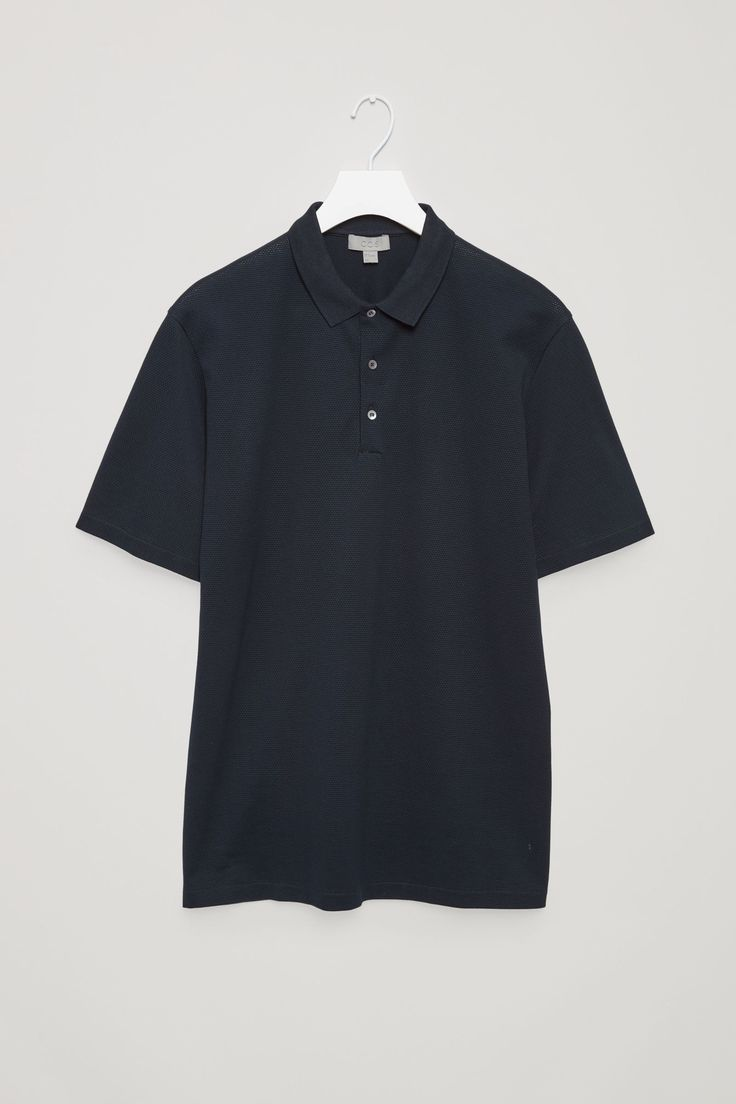 COS image 11 of Textured polo shirt in Navy