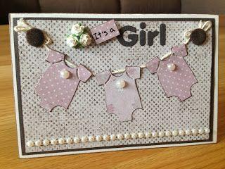 Randis hobbyverden: It`s a girl!! Babykort med bodyer