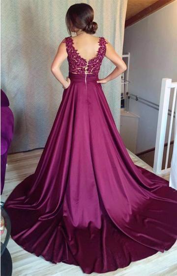 af003e5db0a A Line Appliques Long Prom Dresses