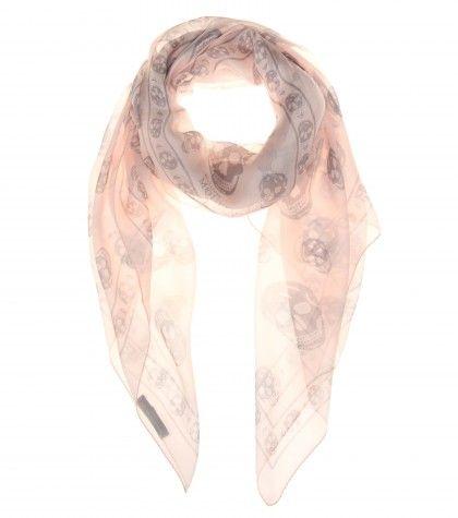 #AlexanderMcQueen Skull-print silk-chiffon scarf