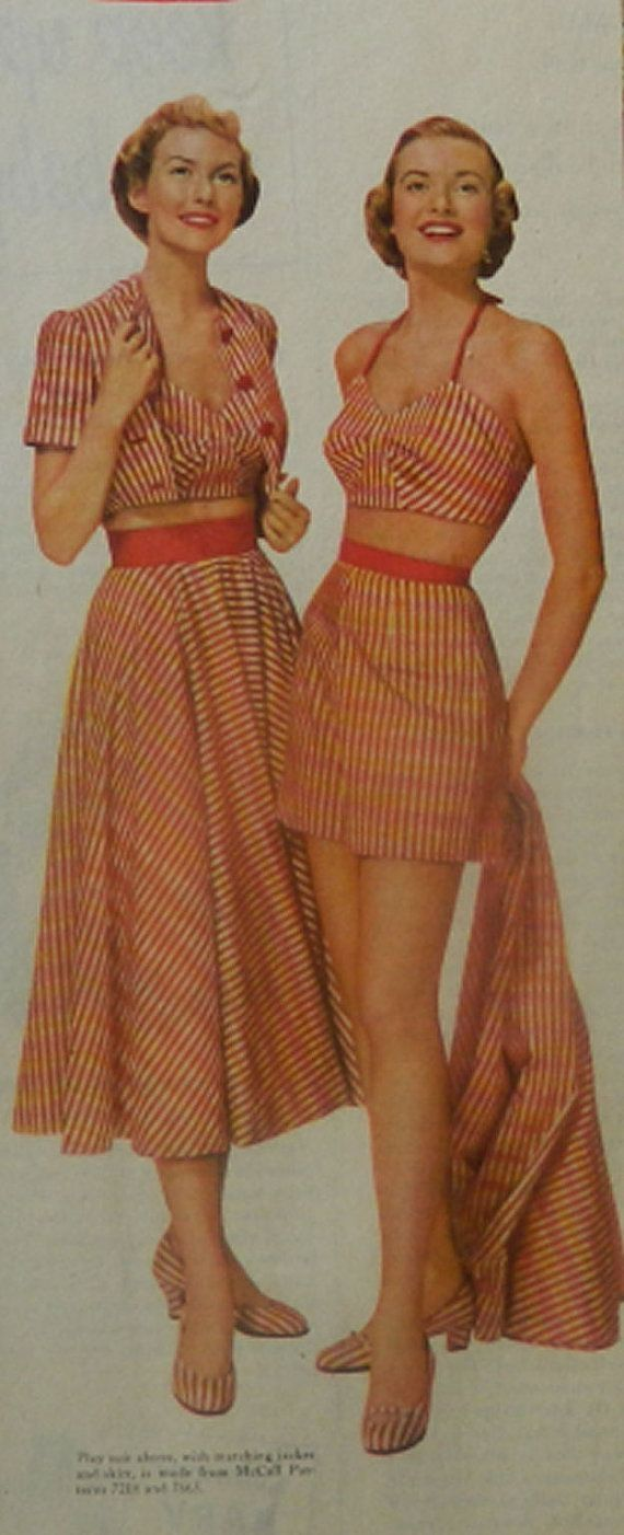 Vintage Fashion Ad Collection   1950 Magazine by DustyDiggerLise, $8.00 Adorable striped beach clothing! Women's vintage fashion photography outfit clothing for summer by tabitha