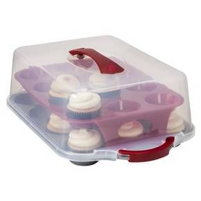 Room Essentials™ 24 Cavity Plastic Covered Cupcake Carrier - Clear/Red : Target