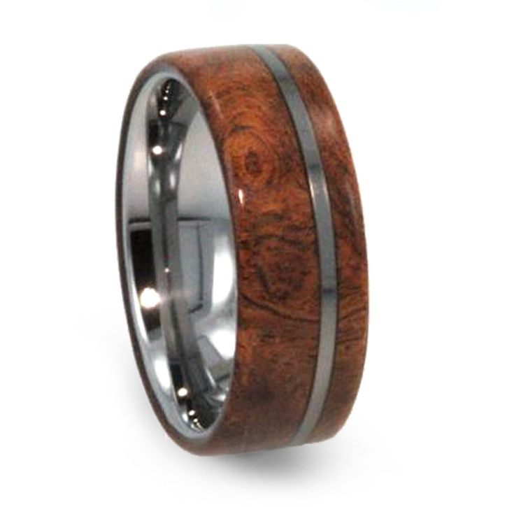 This Tungsten Wedding Band Features Exotic Hardwood Displaying Its Wonderful Wood Grain As Well