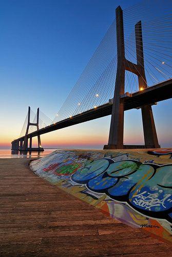 Vasco da Gama Bridge, Tagus River, Lisbon, Portugal .