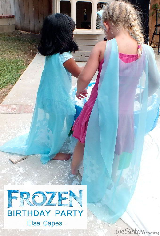Girls wearing their DIY Elsa Capes at our Frozen Birthday Party  l  Two Sisters Crafting